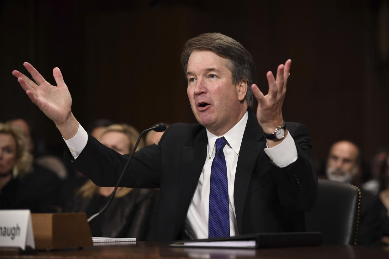 Supreme court nominee Brett Kavanaugh testifies before the Senate Judiciary Committee on Thursday. (Photo: Saul Loeb/Pool/AP)