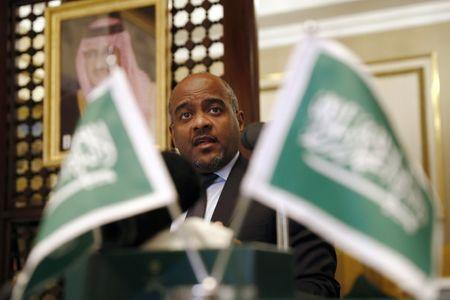 Major General Ahmed Al Asiri, spokesman for the Arab Coalition attends a press briefing at the Embassy of Saudi Arabia in London