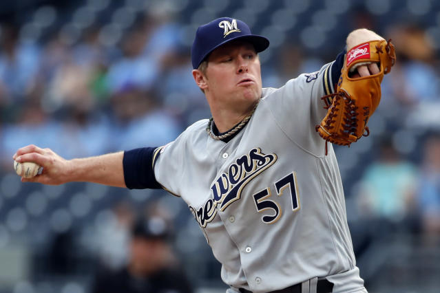 Milwaukee Brewers starting pitcher Chase Anderson delivers during the first inning of the team's baseball game against the Pittsburgh Pirates in Pittsburgh, Thursday, May 30, 2019. (AP Photo/Gene J. Puskar)