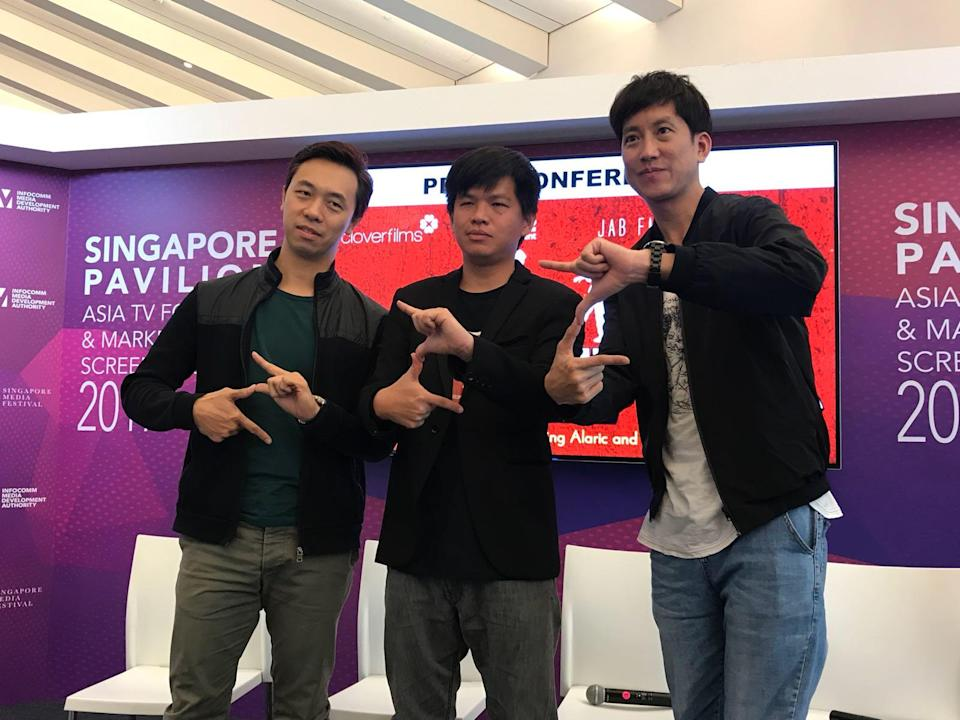From left: Alaric, Jacen Tan and Benjamin Heng at the 'Zombiepura' press conference at the Asia TV Forum. Photo: Elizabeth Tong/Yahoo Lifestyle Singapore