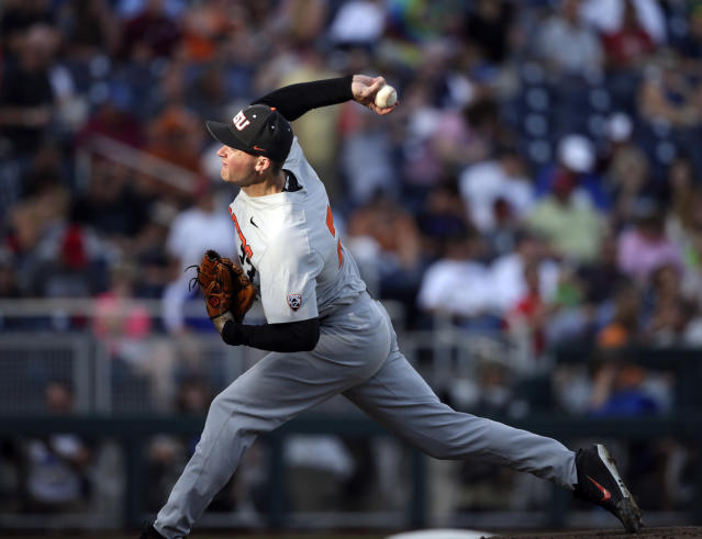 Oregon State pitcher Kevin Abel works against Mississippi State in the first inning of an NCAA College World Series baseball elimination game in Omaha, Neb., Saturday, June 23, 2018. (AP Photo/Nati Harnik)