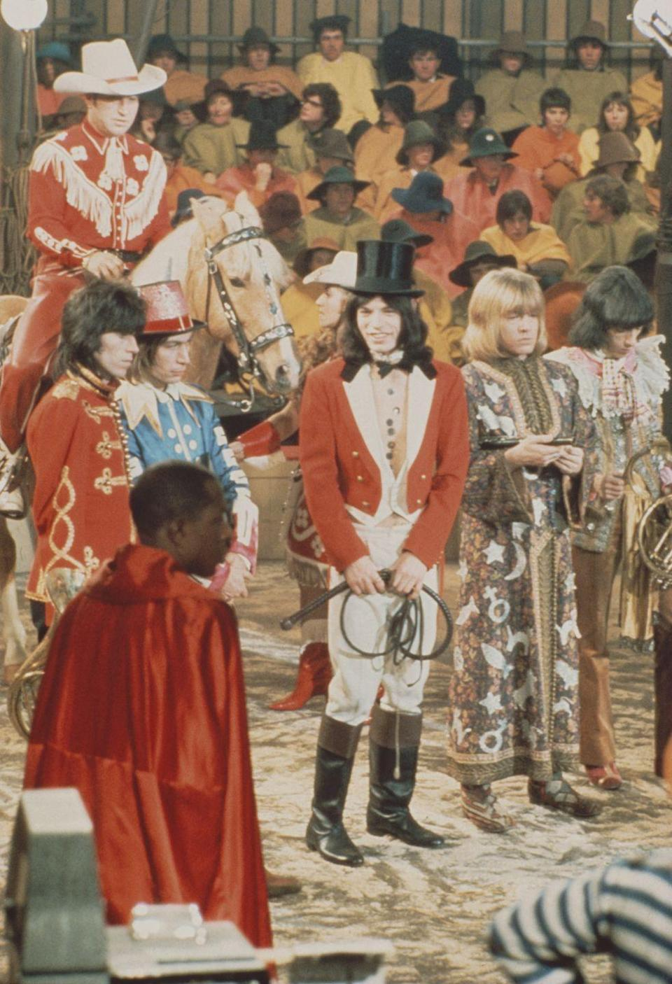 <p>From left to right: Keith Richards, Charlie Watts, Mick Jagger, Brian Jones, and Bill Wyman from The Rolling Stones pose on the set of the Rolling Stones Rock and Roll Circus at Intertel TV Studio in Wembley, London on 11th December 1968.</p>