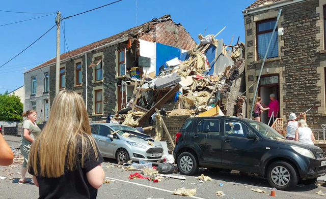 The scene after the explosion at a house in Wales. (Kirsten Alison Williams/Twitter/PA)