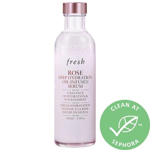 "<p><strong>Item: </strong><span>Fresh Rose Deep Hydration Oil-Infused Serum</span> ($59) </p> <p><strong>What our editor said:</strong> ""[This serum] delivers seriously dewy, hydrated skin with a single use. The lightweight oil-serum hybrid layers well under a moisturizer or, if you want a glass-skin like appearance, wears well on its own when pressed into the skin. This is my signature work-from-home beauty look on days without meetings."" - JH</p> <p>If you want to read more, here is <a href=""https://www.popsugar.com/beauty/best-skincare-products-may-2020-47432417"" class=""link rapid-noclick-resp"" rel=""nofollow noopener"" target=""_blank"" data-ylk=""slk:the complete review"">the complete review</a>.</p>"