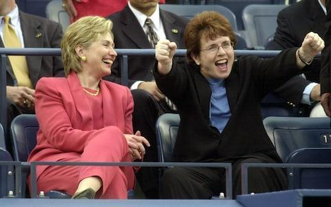 <span>Faces in the crowd: Hillary Clinton watches Billie Jean King watch the match of Serena Williams of the US and Anca Barna of Germany during their first round matches at the 2001 US Open</span> <span>Credit: AFP </span>