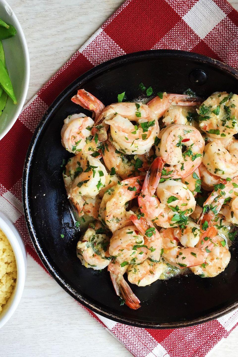 """<p>All shrimp needs are a little lemon and herbs.<br><br>Get the recipe from <a href=""""https://www.delish.com/cooking/recipe-ideas/recipes/a43706/sauteed-shrimp-lemon-parsley-spread-couscous-recipe/"""" rel=""""nofollow noopener"""" target=""""_blank"""" data-ylk=""""slk:Delish"""" class=""""link rapid-noclick-resp"""">Delish</a>.</p>"""