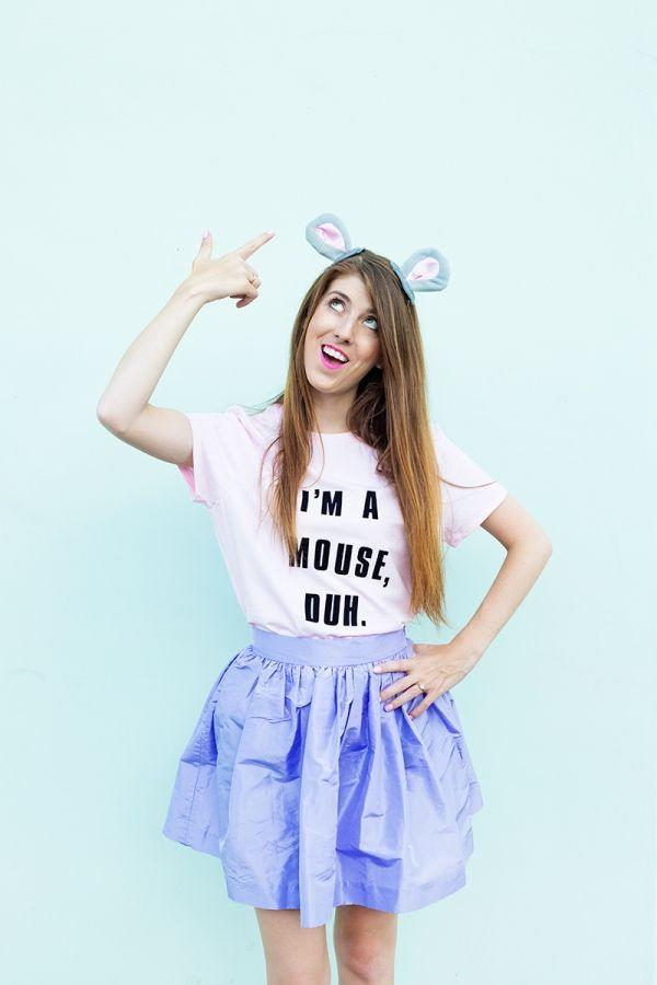 """<p>Whether or not you're as obsessed with <em>Mean Girls </em>as the rest of us, this costume is still totally fetch.</p><p><strong>Get the tutorial at <a href=""""https://studiodiy.com/diy-im-a-mouse-duh-costume//"""" rel=""""nofollow noopener"""" target=""""_blank"""" data-ylk=""""slk:Studio DIY"""" class=""""link rapid-noclick-resp"""">Studio DIY</a>.</strong></p><p><a class=""""link rapid-noclick-resp"""" href=""""https://www.amazon.com/Amscan-Grey-Mouse-Ears-Headband/dp/B01353RQB4/ref=as_li_ss_tl?tag=syn-yahoo-20&ascsubtag=%5Bartid%7C10050.g.22118522%5Bsrc%7Cyahoo-us"""" rel=""""nofollow noopener"""" target=""""_blank"""" data-ylk=""""slk:SHOP MOUSE EARS"""">SHOP MOUSE EARS</a> </p>"""