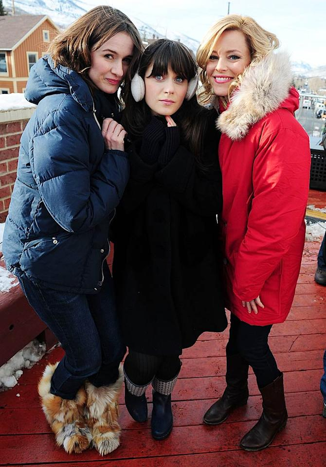 """Emily Mortimer, Zooey Deschanel, and Elizabeth Banks braved the wintry weather in some stylish snow gear to chat with MTV about their new comedy, """"My Idiot Brother."""" Gustavo Caballero/<a href=""""http://www.filmmagic.com/"""" target=""""new"""">FilmMagic.com</a> - January 23, 2011"""
