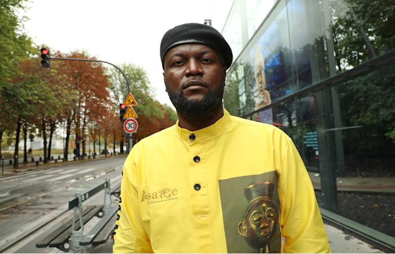 Congolese activist Mwazulu Diyabanza poses in front of the Quai Branly Museum-Jacques Chirac, a museum featuring indigenous art and cultures of Africa, Asia, Oceania and the Americas, in Paris, France, October 2, 2020. REUTERS/Yiming Woo (Photo: Reuters Staff / Reuters)