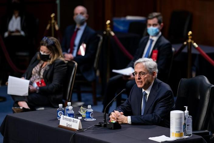 WASHINGTON, DC - FEBRUARY 22: Federal Judge Merrick Garland testifies before a Senate Judiciary Committee hearing on his nomination to be US Attorney General on Capitol Hill on Monday, Feb. 22, 2021 in Washington, DC. (Kent Nishimura / Los Angeles Times)