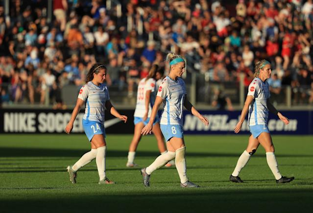 The NWSL and other women's leagues face challenges in dealing with the impact of the coronavirus pandemic. (Photo by Streeter Lecka/Getty Images)