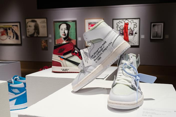 LONDON, UNITED KINGDOM - OCTOBER 01, 2020: A pair of off-white X Nike Air Jordan 1 NRG 'Revealing', 2018, (estimated sale price £2,200 - 2,500) is displayed during a photo call for Bonhams' Pop x Culture sale, on October 01, 2020 in London, England.- PHOTOGRAPH BY Wiktor Szymanowicz / Barcroft Studios / Future Publishing (Photo credit should read Wiktor Szymanowicz/Barcroft Media via Getty Images)