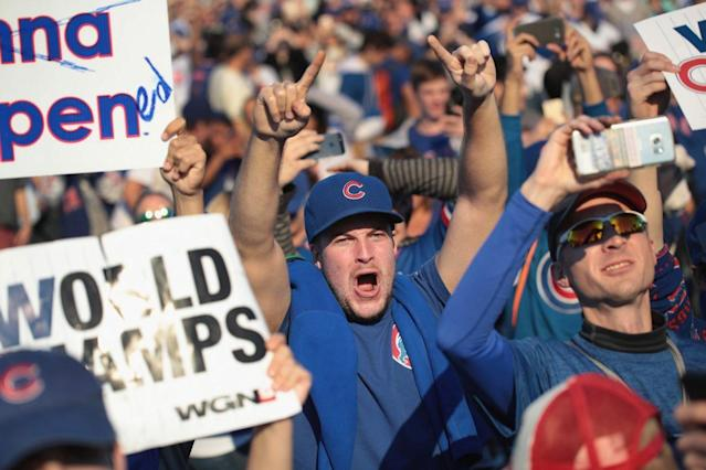 CHICAGO, IL – Chicago Cubs fans attend a rally in Grant Park to celebrate the team's World Series victory on November 4, 2016. (Photo by Scott Olson/Getty Images)