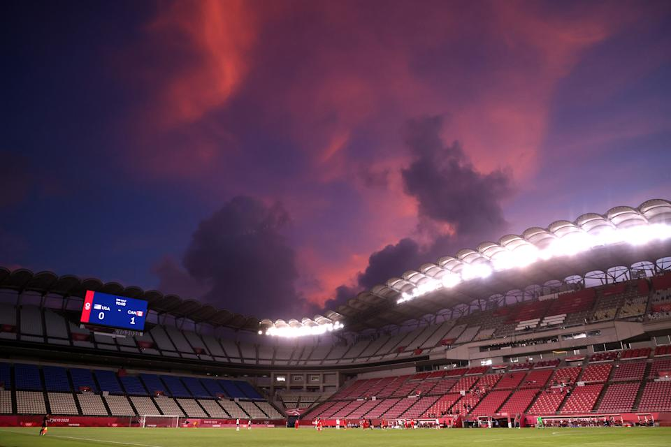 <p>KASHIMA, JAPAN - AUGUST 02: A general view inside the stadium as the sun sets during the Women's Semi-Final match between USA and Canada on day ten of the Tokyo Olympic Games at Kashima Stadium on August 02, 2021 in Kashima, Ibaraki, Japan. (Photo by Atsushi Tomura/Getty Images)</p>