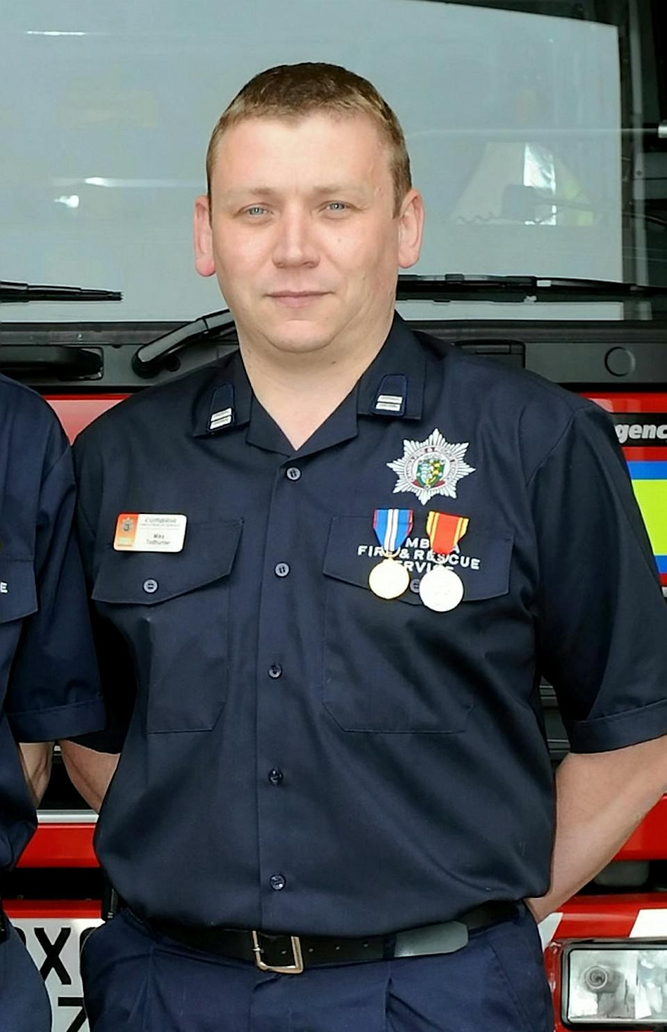 Todhunter, 50, had served with Cumbria Fire and Rescue Service for more than 30 years. (SWNS)