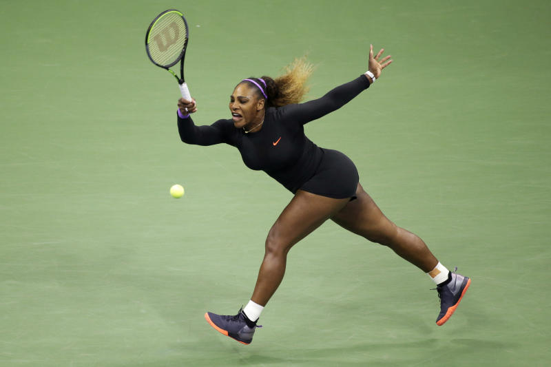 Serena Williams, of the United States, returns a shot to Elina Svitolina, of Ukraine, during the semifinals of the U.S. Open tennis championships Thursday, Sept. 5, 2019, in New York. (AP Photo/Seth Wenig)