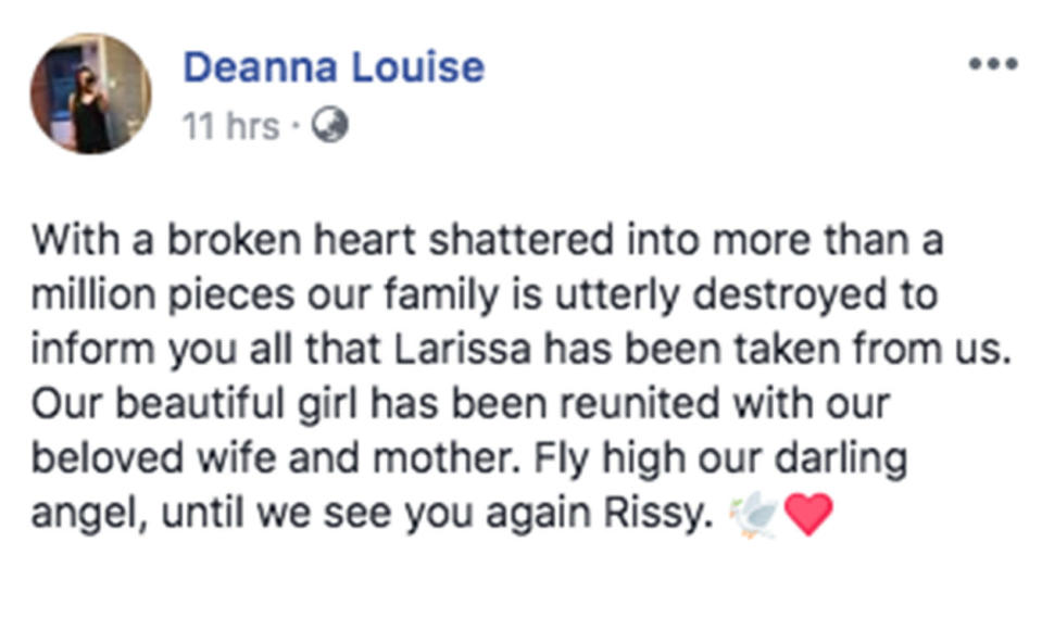 A heartbreaking post was shared online. Source: Deanna Louise/ Facebook