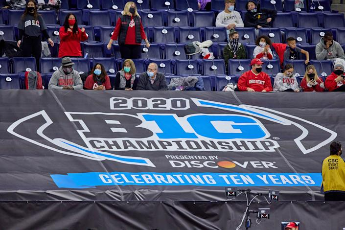 INDIANAPOLIS, IN - DECEMBER 19: A detail view of the 2020 Big Ten Championship logo is seen on a banner in action during the Big Ten Championship game between the Ohio State Buckeyes and the Northwestern Wildcats on December 19, 2020 at Lucas Oil stadium, in Indianapolis, IN. (Photo by Robin Alam/Icon Sportswire via Getty Images)