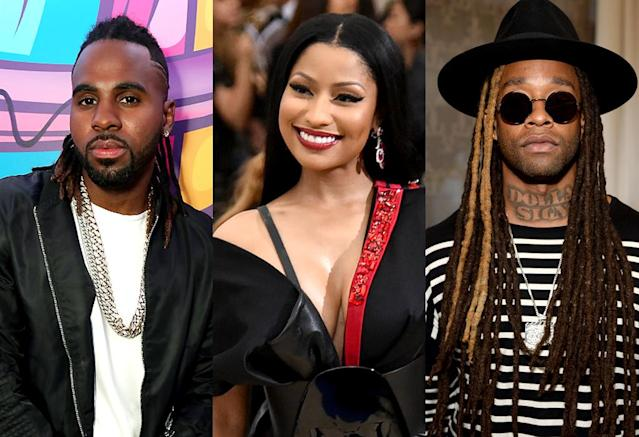 "<p>All three acts have made the top 10 on the summer recaps –Derulo with ""Wiggle""; Minaj with ""Super Bass"" and ""Starships""; Ty Dolla $ign with Fifth Harmony's ""Work from Home."" Current Hot 100 ranking: No. 33. <a href=""https://www.youtube.com/watch?v=xoWEQLpBoE0"" rel=""nofollow noopener"" target=""_blank"" data-ylk=""slk:LISTEN HERE"" class=""link rapid-noclick-resp""><strong>LISTEN HERE</strong></a><br>(Photo: Getty Images) </p>"