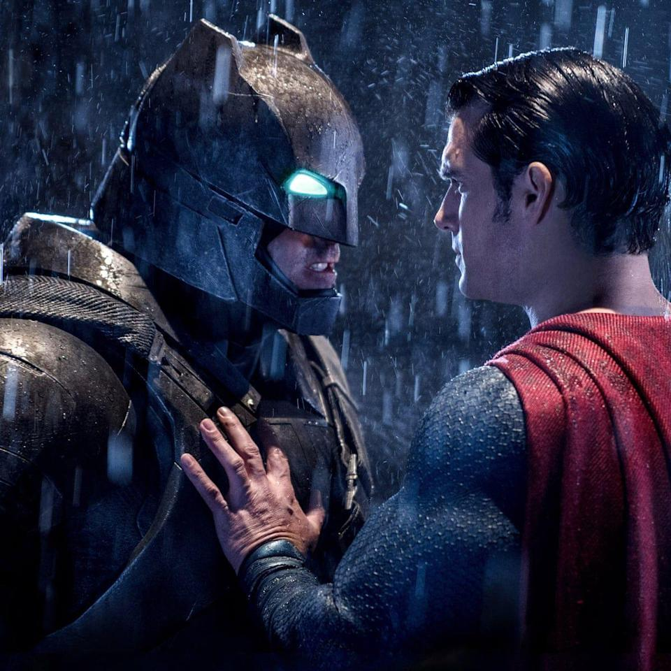 "<p>Fans have waited a long time for The Dark Knight to come face-to-face with the Man of Steel, and they finally get their crossover in this movie. And what happens when they finally meet? The two heroes have to deduce who the bigger threat is — Lex Luthor, or each other. Here's where we also get our first real look as Ben Affleck's Batman (affectionately known as Batfleck). </p><p><a class=""link rapid-noclick-resp"" href=""https://www.amazon.com/Batman-v-Superman-Dawn-Justice/dp/B01DAWJ7C6?tag=syn-yahoo-20&ascsubtag=%5Bartid%7C10063.g.35128363%5Bsrc%7Cyahoo-us"" rel=""nofollow noopener"" target=""_blank"" data-ylk=""slk:WATCH ON AMAZON"">WATCH ON AMAZON</a> <a class=""link rapid-noclick-resp"" href=""https://go.redirectingat.com?id=74968X1596630&url=https%3A%2F%2Fwww.hbomax.com%2F&sref=https%3A%2F%2Fwww.redbookmag.com%2Flife%2Fg35128363%2Fdc-movies-in-order%2F"" rel=""nofollow noopener"" target=""_blank"" data-ylk=""slk:WATCH ON HBO MAX"">WATCH ON HBO MAX</a></p>"