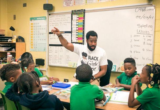 PHOTO: Sammy Rigaud, a second-grade teacher at The Kindezi School at Old Fourth Ward in Atlanta, Georgia, teaches in the classroom on Oct. 3, 2019, to students Orlando Battles, Lamrion Ross, Quavis Howard, Landyn Chambers and Amirrah Russell. (Courtesy Sammy Rigaud)