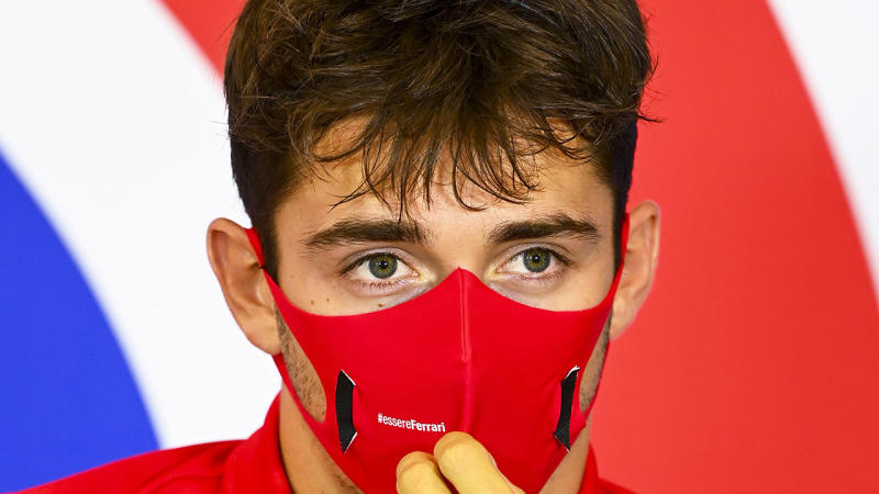 Ferrari driver Charles Leclerc is pictured during a Formula One press conference.