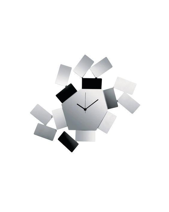 """Here's another take on the modern wall clock created by Italian designer Mario Trimarchi. The timepiece measures 18 inches by 13.25 inches. Find it in stainless steel (pictured) or black. $200, Alessi. <a href=""""https://us.alessi.com/collections/clocks/products/la-stanza-dello-scirocco-wall-clock"""" rel=""""nofollow noopener"""" target=""""_blank"""" data-ylk=""""slk:Get it now!"""" class=""""link rapid-noclick-resp"""">Get it now!</a>"""