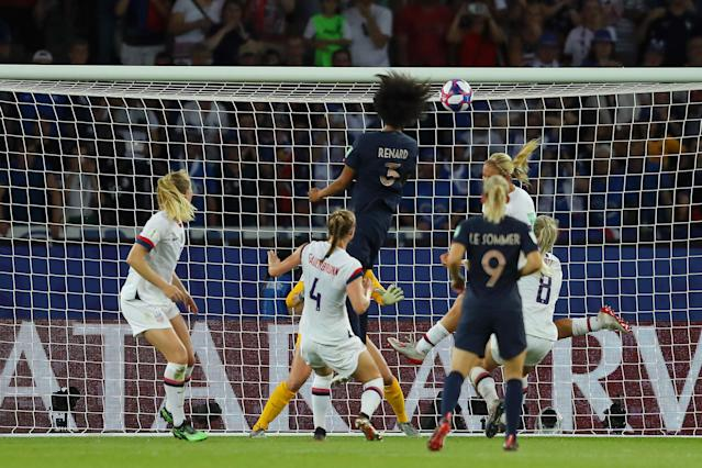 Wendie Renard of France scores her team's first goal during the 2019 FIFA Women's World Cup France Quarter Final match between France and USA at Parc des Princes on June 28, 2019 in Paris, France. (Photo by Richard Heathcote/Getty Images)
