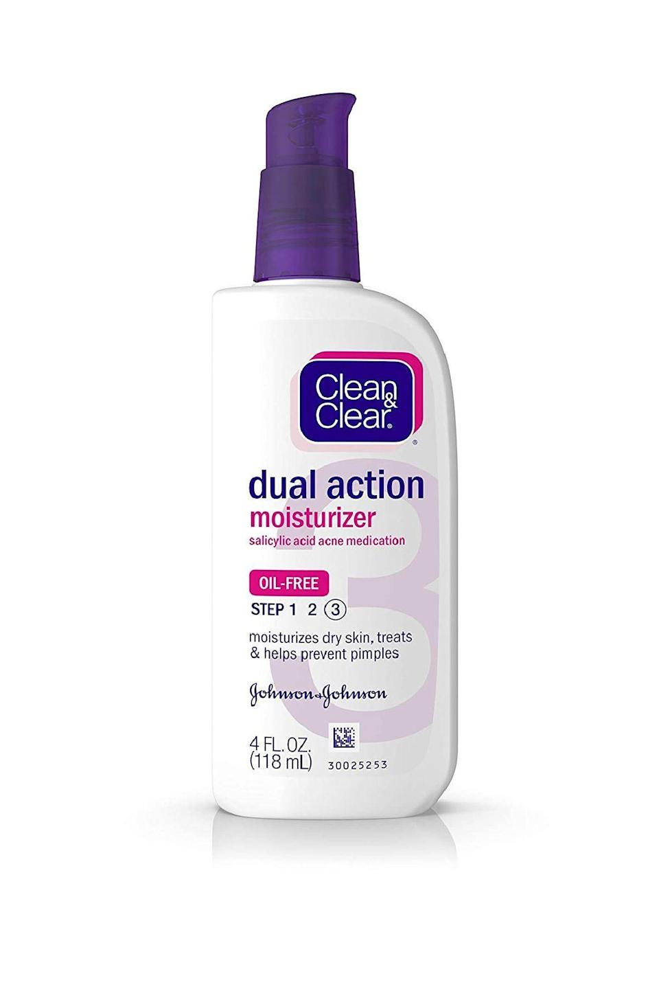"""<p><strong>Clean & Clear</strong></p><p>amazon.com</p><p><strong>$4.97</strong></p><p><a href=""""https://www.amazon.com/dp/B001E96LVS?tag=syn-yahoo-20&ascsubtag=%5Bartid%7C10058.g.34399769%5Bsrc%7Cyahoo-us"""" rel=""""nofollow noopener"""" target=""""_blank"""" data-ylk=""""slk:SHOP IT"""" class=""""link rapid-noclick-resp"""">SHOP IT</a></p><p>One part daily moisturizer and one part blemish-blaster, this affordable option makes use of a .5% salicylic acid blend to blunt current breakouts and discourage ones in the future.</p>"""