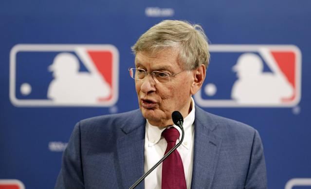 Baseball Commissioner Bud Selig speaks during a news conference at baseball's All-Star game, Tuesday, July 15, 2014, in Minneapolis. Major League Baseball has appointed former major league outfielder Billy Bean, who came out as gay after his playing career, to serve as a consultant in guiding the sport toward greater inclusion and equality. (AP Photo/Paul Sancya)