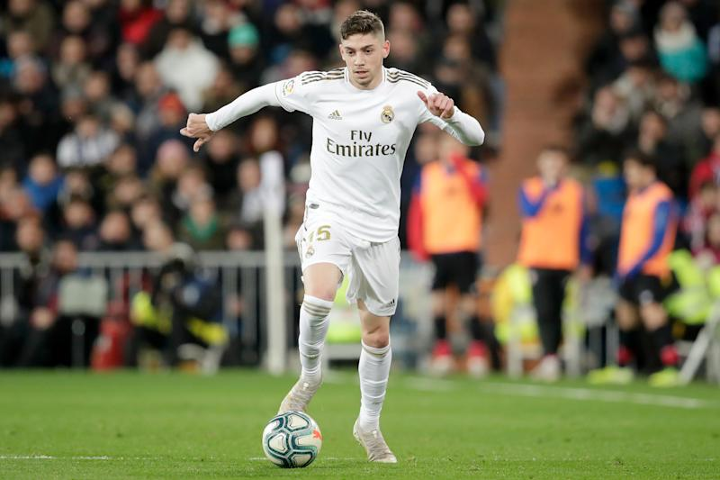 MADRID, SPAIN - DECEMBER 22: Federico Valverde of Real Madrid during the La Liga Santander match between Real Madrid v Athletic de Bilbao at the Santiago Bernabeu on December 22, 2019 in Madrid Spain (Photo by David S. Bustamante/Soccrates/Getty Images)