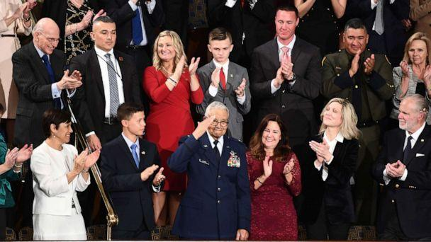 PHOTO: Retired Brigadier General Charles McGee (bottom C) salutes during the State of the Union address at the US Capitol in Washington, DC, on February 4, 2020. (Brendan Smialowski/AFP via Getty Images)