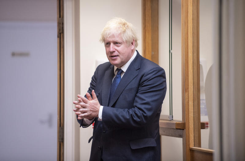 Prime Minister Boris Johnson sanitises his hands during his visit to St Joseph's Catholic Primary School in Upminster, east London, to see work to make schools safe for return in September.