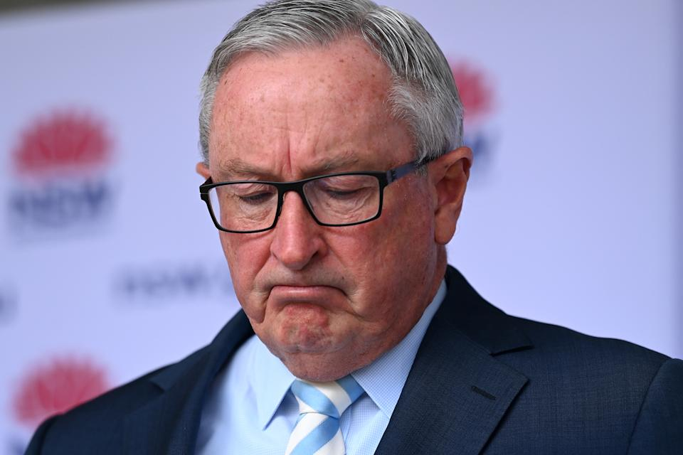 NSW Health Minister Brad Hazzard speaks to the media during a COVID-19 press conference in Sydney, Saturday. Source: AAP