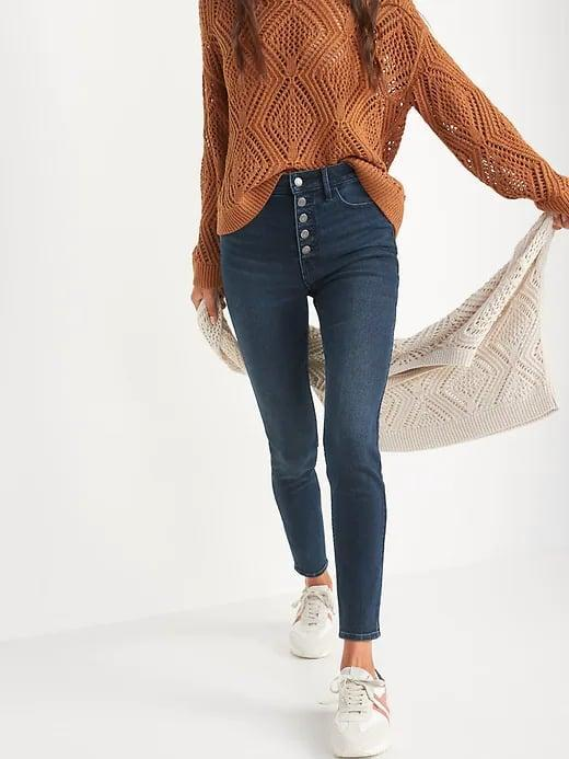 <p>Sure, it's a small detail, but the exposed buttons on these <span>Old Navy Extra High-Waisted Rockstar 360° Stretch Super Skinny Button-Fly Jeans</span> ($40) set them apart from the rest of the stretchy, slimming options in this fabric.</p>