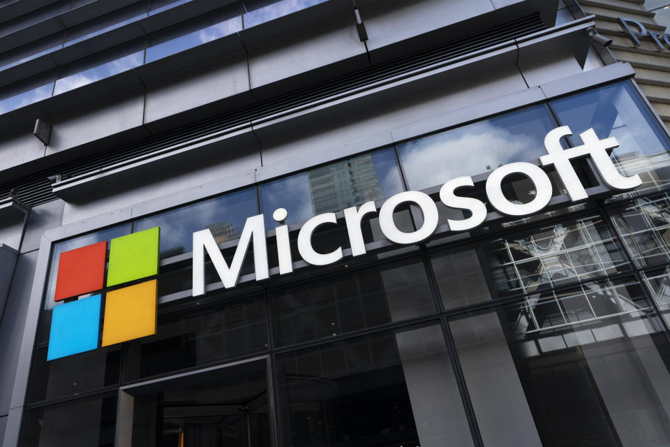 A sign for Microsoft offices, Thursday, May 6, 2021 in New York. (AP Photo/Mark Lennihan)
