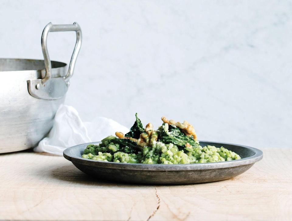 """This rice is so self-sufficient it doesn't need your constant attention, and it's happy to share the spotlight with a nutty green sauce. <a href=""""https://www.bonappetit.com/recipe/oven-risotto-with-kale-pesto?mbid=synd_yahoo_rss"""" rel=""""nofollow noopener"""" target=""""_blank"""" data-ylk=""""slk:See recipe."""" class=""""link rapid-noclick-resp"""">See recipe.</a>"""