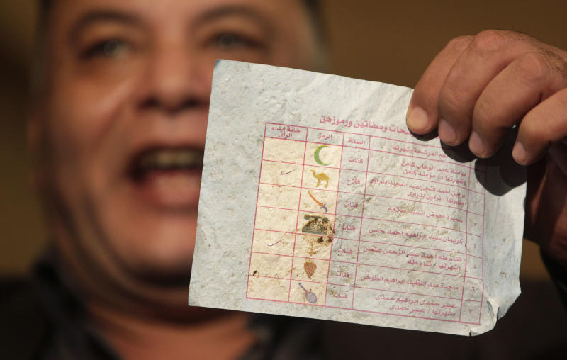 A member of the Egyptian opposition Wafd Party holds up what they claimed to be one of a number of ballots found dumped in the street and not counted, at the party's headquarters in Cairo, Egypt, Thursday, Dec. 2, 2010. The Egyptian opposition Wafd Party said that it will abide by its decision to boycott the country's parliamentary election run-offs, to protest alleged fraud in the first round on Nov. 28, sparking anger and scuffles between supporters and opponents of the decision at the party's headquarters. (AP Photo/Ben Curtis)