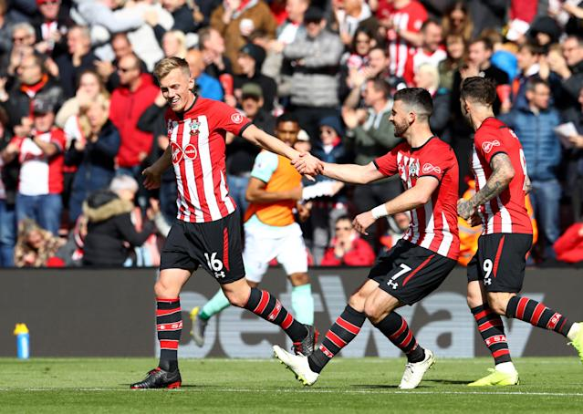 Southampton players celebrate during the 3-3 draw against south coast rivals Bournemouth (Photo by Michael Steele/Getty Images)