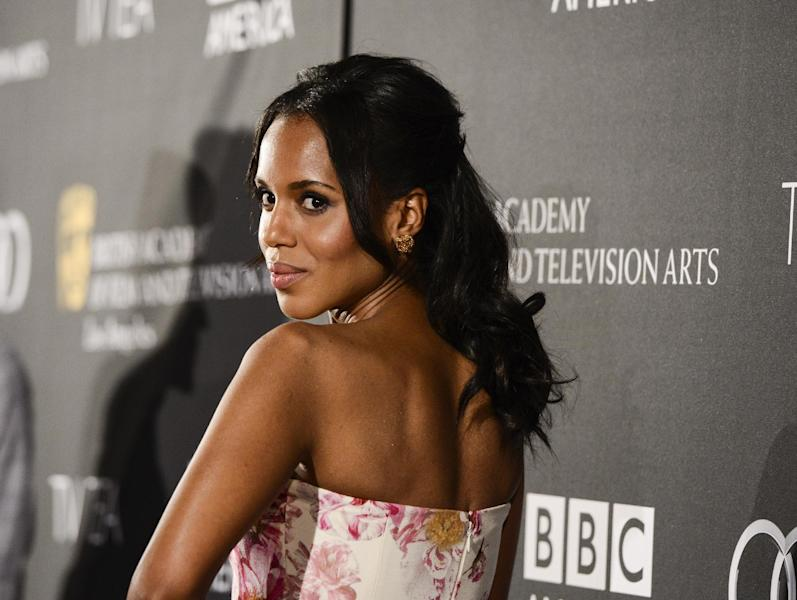 Actress Kerry Washington arrives at the BAFTA's Los Angeles TV Tea party at the SLS Hotel on Saturday, Sept. 21, 2013 in Los Angeles. (Photo by Dan Steinberg/Invision/AP)