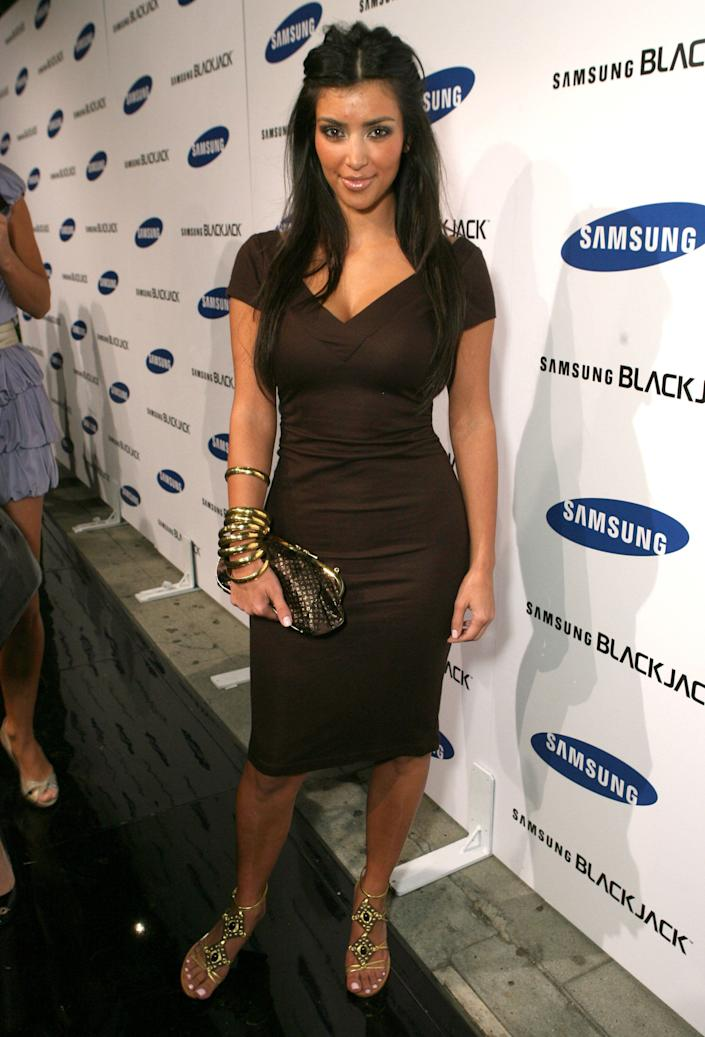 Kim Kardashian during Jimmy Kimmel Hosts the Launch of The Samsung BlackJack - Red Carpet at Boulevard3 in Hollywood, California, United States. (Photo by John Shearer/WireImage for Bragman Nyman Cafarelli)