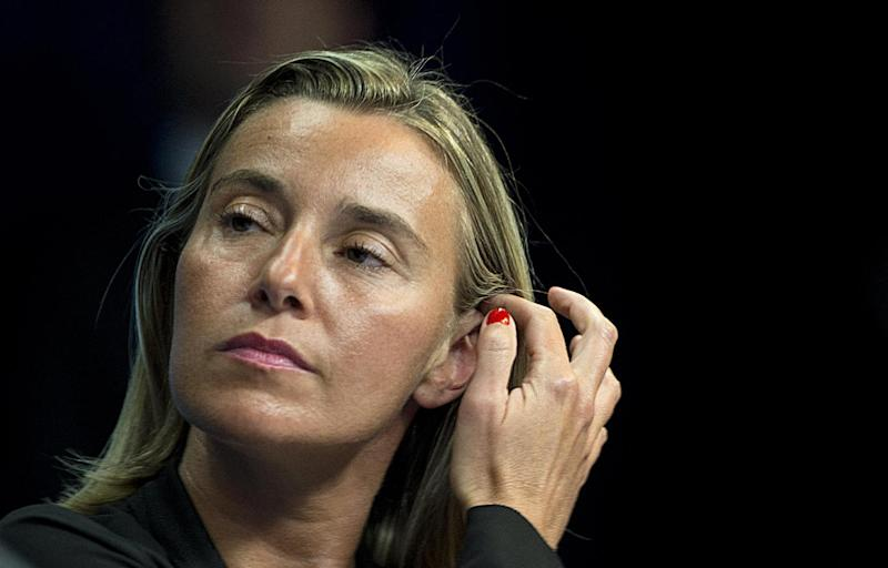 Italian Foreign Minister Federica Mogherini attends a press briefing during the European Union summit at the EU Headquarters in Brussels on August 30, 2014 (AFP Photo/Alain Jocard)