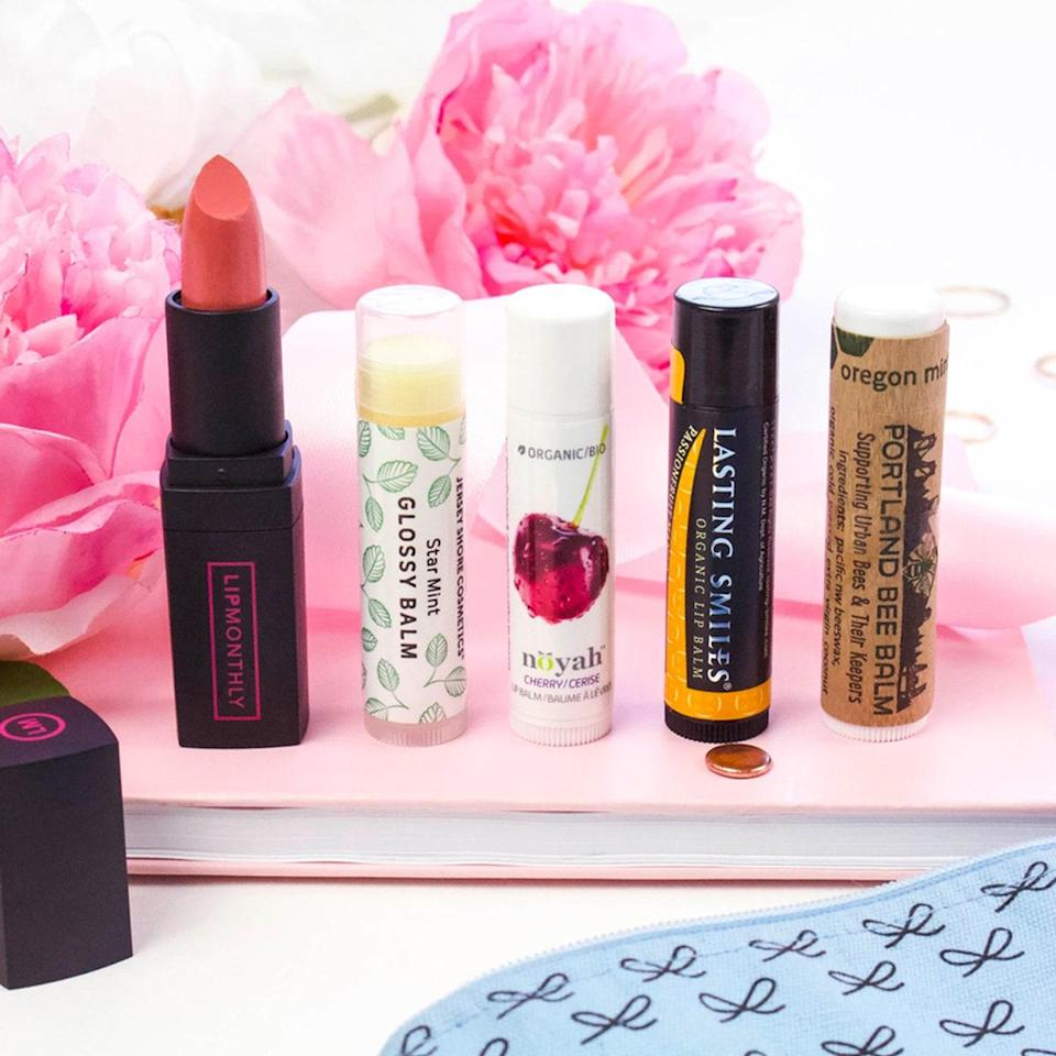 """This beauty box focuses on just lips! Subscribers get four full-size lip products (which could include lipstick, lip gloss, lip balm, lip liner, etc.), or they can upgrade to Lip Monthly Plus for 6-7 full-size products for $19.95 per month. $13, Lip Monthly. <a href=""""https://lipmonthly.com/"""" rel=""""nofollow noopener"""" target=""""_blank"""" data-ylk=""""slk:Get it now!"""" class=""""link rapid-noclick-resp"""">Get it now!</a>"""