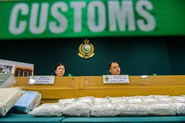 Hong Kong's Customs Department announced its biggest meth haul in a decade (AFP Photo/ANTHONY WALLACE)