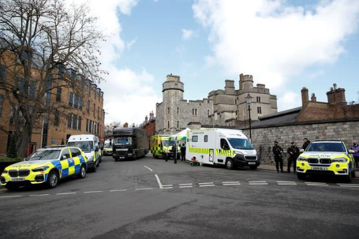 View of Windsor Castle following Prince Philip's death, in Windsor