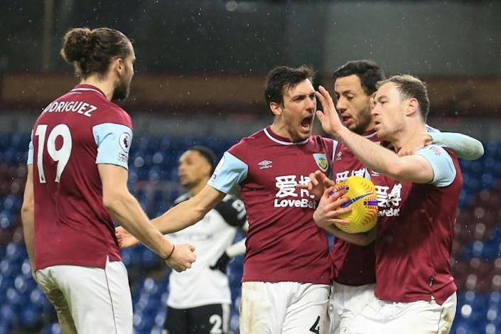 Ashley Barnes (right) scored Burnley's equaliser in a 1-1 draw against Fulham