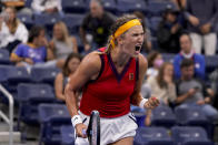Victoria Azarenka, of Belarus, celebrates her win over Jasmine Paolini, of Italy, during the second round of the US Open tennis championships, Wednesday, Sept. 1, 2021, in New York. (AP Photo/Seth Wenig)