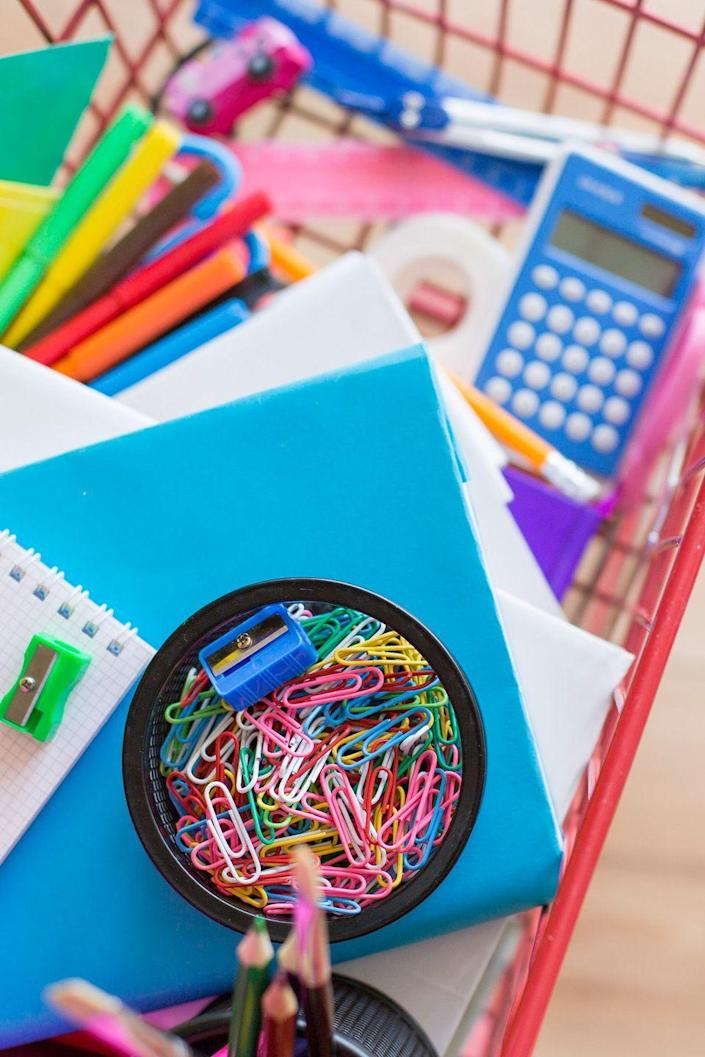 """<p>Shopping for supplies solo may be faster, but taking your kids along is the better bet. They'll be more excited about using the cool stuff they get to pick out, says Marcella Moran, PhD, coauthor of <em><a href=""""https://www.amazon.com/Organizing-Disorganized-Child-Strategies-Succeed-ebook/dp/B002LUHZ6E/?tag=syn-yahoo-20&ascsubtag=%5Bartid%7C10070.g.3124%5Bsrc%7Cyahoo-us"""" rel=""""nofollow noopener"""" target=""""_blank"""" data-ylk=""""slk:Organizing the Disorganized Child"""" class=""""link rapid-noclick-resp"""">Organizing the Disorganized Child</a></em>. And that's incentive to keep it all organized.</p>"""