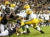 Green Bay Packers' Aaron Rodgers is sacked by Chicago Bears' Leonard Floyd during the first half of an NFL football game Thursday, Sept. 5, 2019, in Chicago. (AP Photo/David Banks)