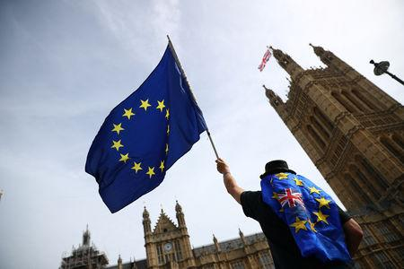 An anti-Brexit demonstrator waves flags outside the Houses of Parliament, in London